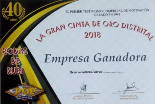 Gran Cinta de Oro Distrital Diploma POP 2018