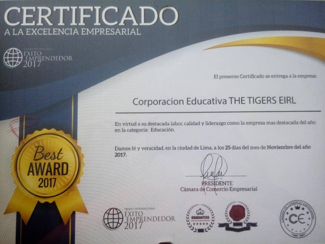 Certificado a la excelencia empresarial 2017 The Tigers
